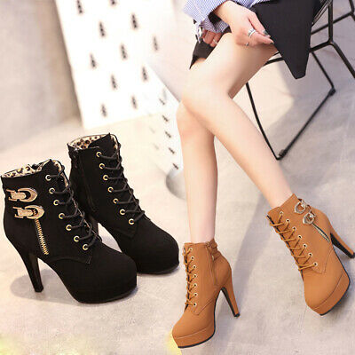 Winter Suede Women Lace Up Stilettos Heel Boot Platform Martin Ankle Boots Shoes