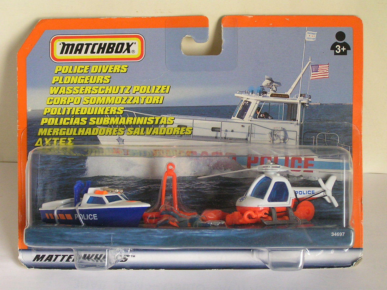 MATCHBOX POLICE DIVERS SET WITH LAUNCH BOAT & HELICOPTER + ACCESSORIES RARE MOC
