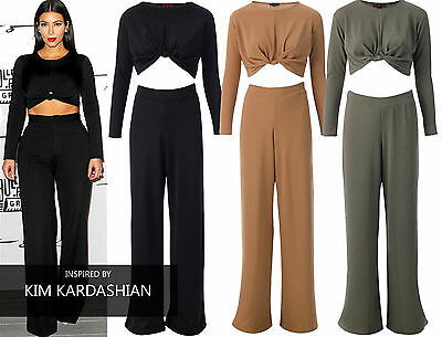 Womens Ladies Celeb Inspired Knotted Top And Pallazo Trouser Two Piece Dress