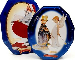 Two Snickers Christmas Collectible Tins w/ Norman Rockwell Art Circa 1949