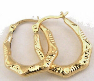 Details About 14k Yellow Gold Textured Hoop Earrings