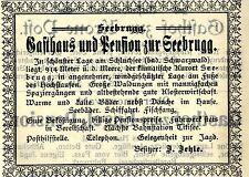 J.Jehle Seebrugg Schwarzwald GASTHAUS UND PENSION  Historische Reklame von 1905