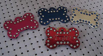 Bling Bling crystal bone shape  pet ID Tag, personalize ID tags custom engraving