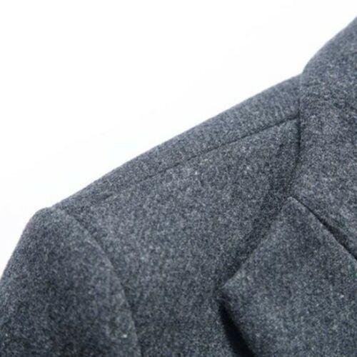 Solid Outwear Blend coreano para Chaqueta de Coreano lana Slim Fit Parka Lapel hombre IqnPfw8