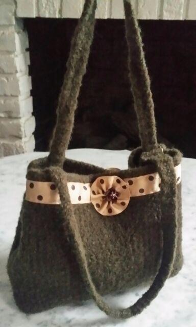 Free S&H !  Women's Green Wool Beige Ribbon Accent Hand Bag Purse