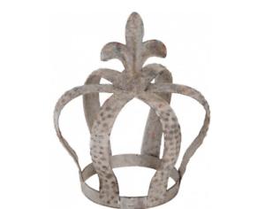 Mini Distressed Grey Planter Crown Garden Metal Wedding Decoration Shabby Chic