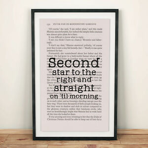 Peter Pan Book Page Art Second Star To The Right Print Quote Ebay