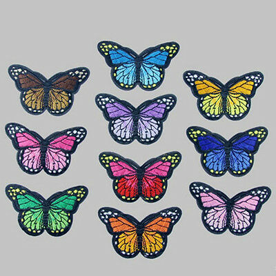 30 x Fabric Butterfly Appliques//Patches Mixed Colours