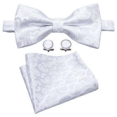Bow Tie Set Men's Tuxedo Bowtie Adjustable White Paislety Pre Tied Wedding Party