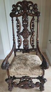 Antique-Renaissance-Revival-High-Back-Throne-Chair