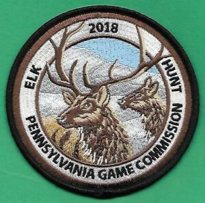 """Details about  /Pa Pennsylvania Game Fish Commission NEW 4/"""" 2018 Elk Hunt Hunting Cloth Patch"""