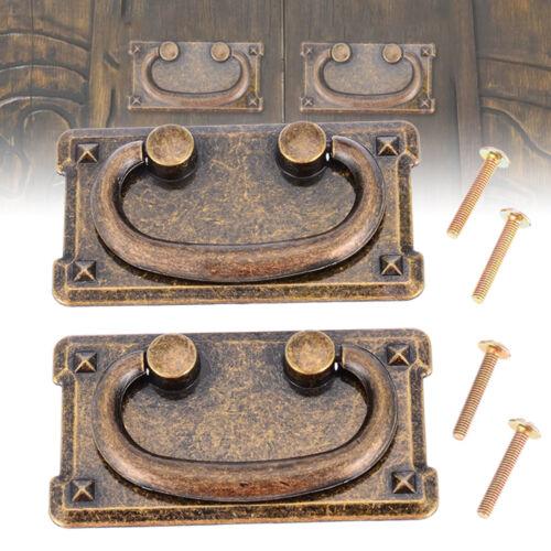 2 Set Antique Bronze Door Cupboard Drawer Cabinet Drop Handle Knob W//Screws d