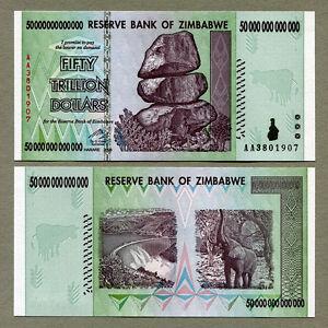 Image Is Loading Zimbabwe 50 Trillion Dollars Banknote Aa 2008 P90