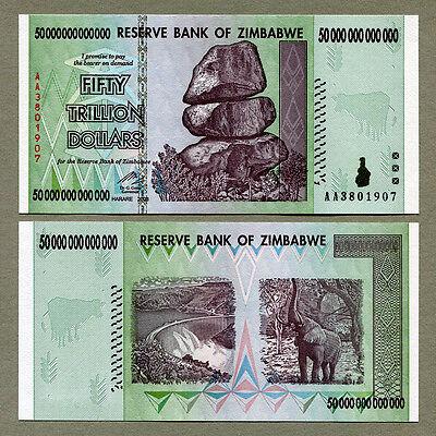 Coins Paper Money Zimbabwe 50 Trillion Dollar Banknote Unc
