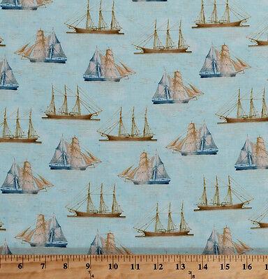 Anchors Ropes Nautical Sailing Ocean Tall Ships Cotton Fabric Print BTY D5814.34