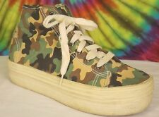 sz 7 ladies camouflage canvas YELLOW BOX high top platform sneakers tennis shoes