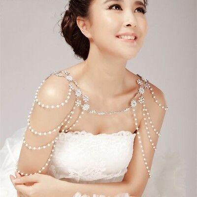 Fera Bridal Shoulder Necklace Shoulder Jewelry Bridal Shoulder Chain Bridal Body Chain Statement Pearl Necklace Wedding Shoulder Piece