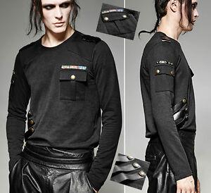 Haut-t-shirt-gothique-minimaliste-militaire-galons-sangles-cuir-Punkrave-homme