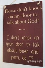 Naughty Door Knockers Beer Porn God Sign - no soliciting welcome warning safety