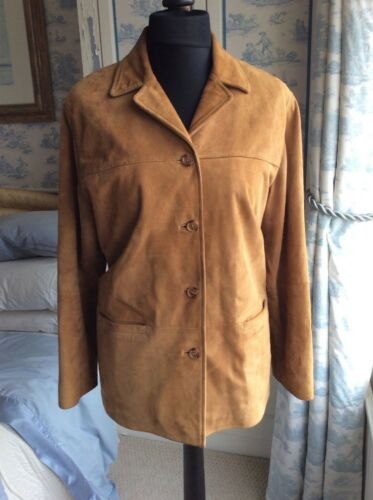Lakeland Shacket Vintage Tan Look Shirt Jacket Coat Suede Leather x6rxp0n