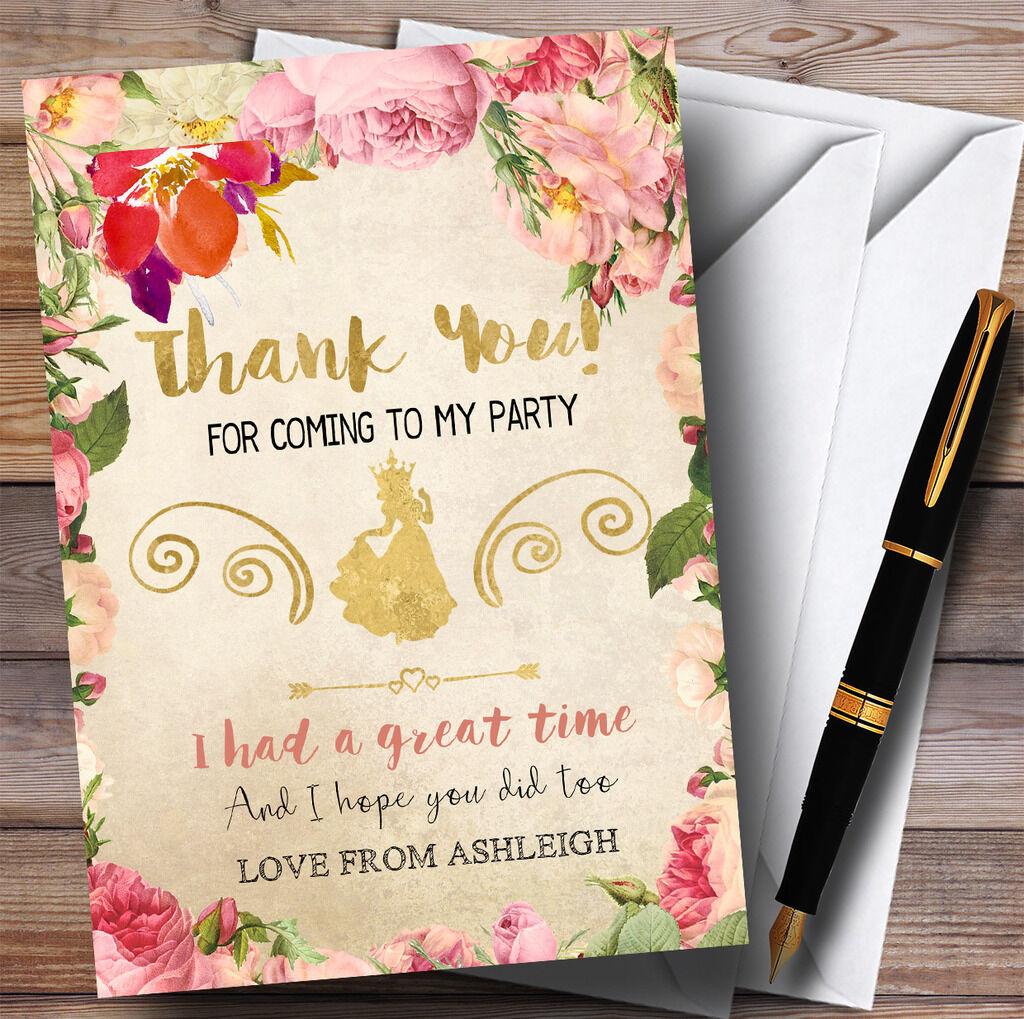 Autumn Gold Princess Party Thank You Cards