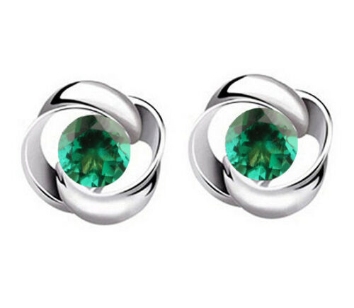 2.10CT Round Shape Real 14KT White Gold Natural Green Emerald Anniversary Studs