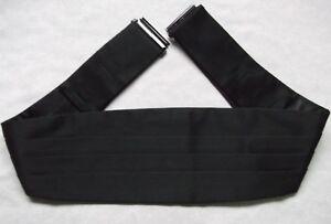 """Ceinture Homme Plissé Vintage Écharpe 1990 S Noir Plissé Taille 44""""-afficher Le Titre D'origine"""
