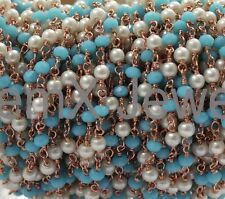 20 Feet Sky Chalcedony With Pearl Hydro,3-4mm Rose Gold Plated Rosary Chain