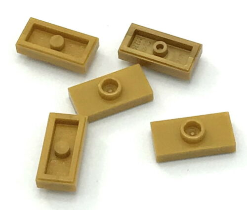 Lego 5 New Pearl Gold Plates Modified 1 x 2 with 1 Stud Jumper Parts