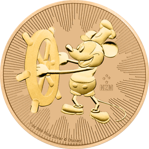 2017 Nieu 2$ Steamboat Willie Mickey Mouse Rose Gold Gilded 1oz Silver Coin