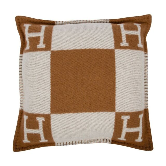Avalon Cuscini.Hermes Pillow Avalon Pm Signature H Camel Ecru Throw Cushion Ebay