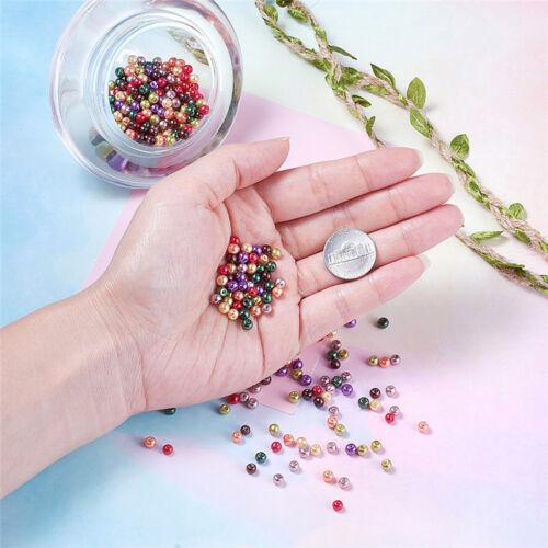 1Bag 4 mm mix Nacré En Verre Perles Pour À faire soi-même Bijoux Making sur 400pcs//bag