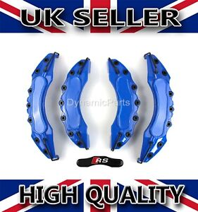 BRAKE-CALIPER-COVERS-SET-KIT-FRONT-AND-REAR-FOR-AUDI-A3-A4-A5-BLUE-ABS-RS