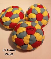 BuddhaBag 52 panel Pellet-Filled hacky sack footbag YELLOW/LIGHTBLUE/RED Suede