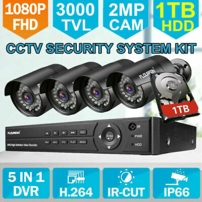 FLOUREON 8CH 3000TVL 1080P 1080N DVR CCTV Überwachungskamera Set HDD IP68 NEU