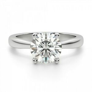 2.00 Ct Solitaire Moissanite Engagement Ring 18K Solid White Gold ring Size 7