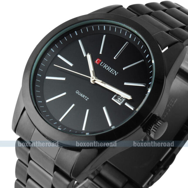 Curren Men's Stainless steel Black Date Calendar Sport Quartz Analog Wrist Watch