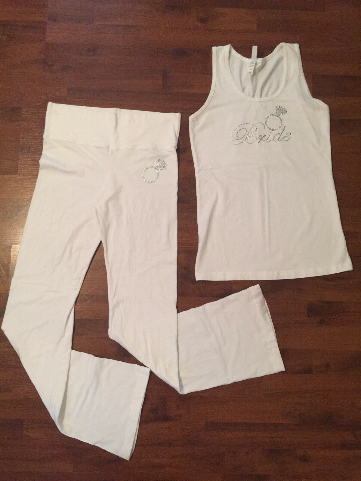 Womens Size Small Long In Your Face White Bride Tank Pants Bling Set