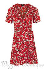 Topshop Daisy Floral Print Ruffle Frill Wrap Tea Dress - Red UK12/EU40/US8 BNWT