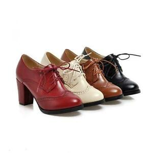 Block Heel Oxford Lace Up Shoes Women