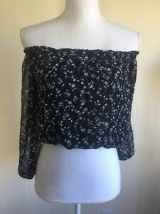 2b056891824ee new! Brandy Melville Sheer navy blue floral off shoulder Maura top ...