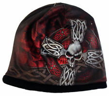 CELTIC CROSS Beanie Knit Cap Motorcycle Biker Hat Tribal Skull Ski Snowboard