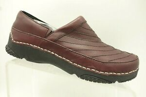Teva-Burgundy-Leather-Casual-Slip-On-Clog-Loafers-Women-039-s-9