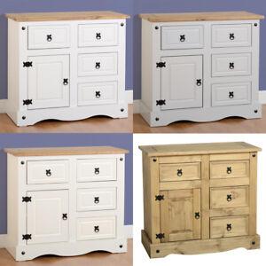 Corona-Sideboard-1-Door-4-Drawer-Distressed-Waxed-Pine-Cream-Grey-White-Wood