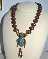 $260 Heidi Daus sparkling Scarab Serpentine Bead Blue Scarab Y Necklace