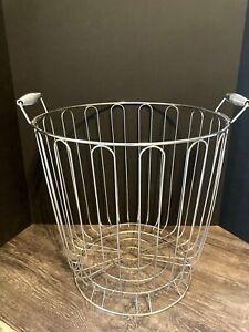 Vtg-Large-Pedestal-Metal-Wire-Basket-Silver-Industrial-Storage-Laundry-Decor-17-034