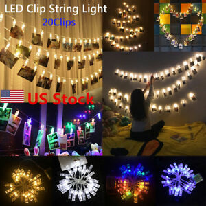 Wire Clip Po Display | Us Photo Clip Led Battery Box Light String Clip Display Wire 20 Led