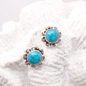 Mohave-Tuerkis-rund-blau-Bluete-Design-Ohrringe-Ohrstecker-925-Sterling-Silber-neu