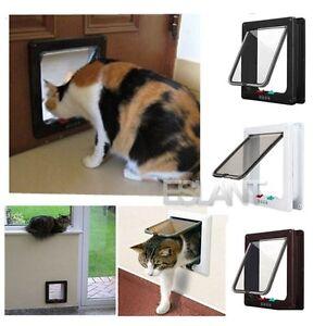 Magnetico-4-modo-bloqueo-gatera-Bloqueable-Pequeno-Cachorro-Perro-Mascota-Puerta