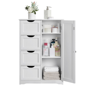 Details About White Wooden Floor Cabinet W 4 Drawers Free Standing Bathroom Storage Organizer